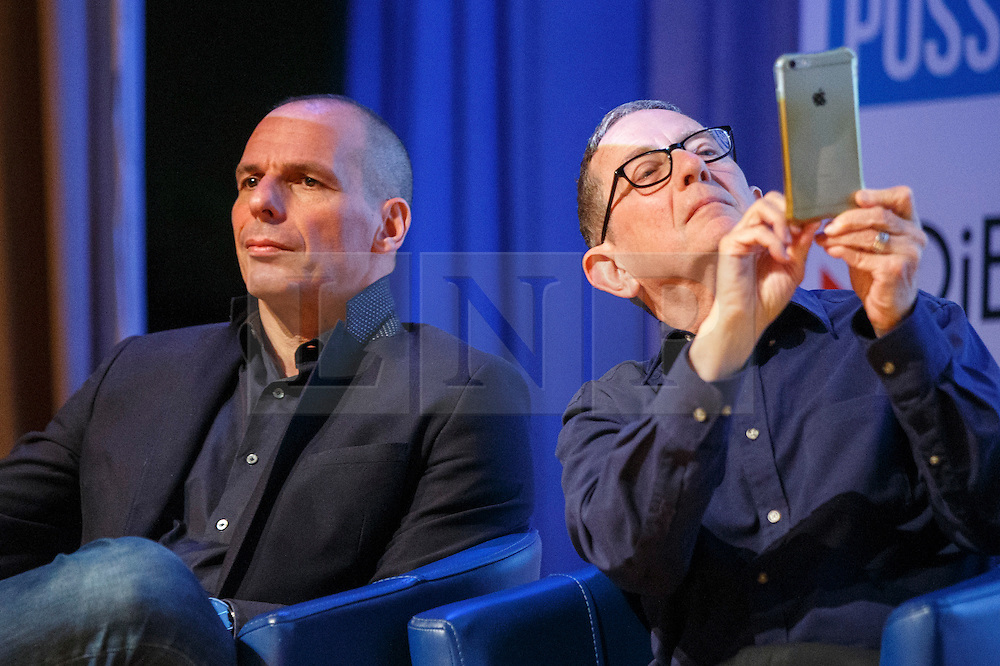 "© Licensed to London News Pictures. 28/05/2016. London, UK. Former Greek Finance Minister YANIS VAROUFAKIS and ANTHONY BARNETT speaking at ""Another Europe is Possible"" rally at UCL Institute of Education in London, campaigning for a remain vote at the upcoming EU referendum. Speakers at the event include Shadow Chancellor John McDonnell and Green Party MP Caroline Lucas. Photo credit: Tolga Akmen/LNP"