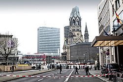 20.12.2016, Berlin, GER, Anschlag auf Berliner Weihnachtsmarkt, im Bild Kannstrasse, Gedaechtniskirche, Weihnachtsmarkt, Absperrung Kurfuerstendamm, Strassensperrung an der Gedaechtniskirche // after a Truck sped into a Christmas market, killing at least twelve people and injuring dozens more Ambulances and heavily armed officers rushed to the area after the driver drove up the pavement of the market in a square popular with tourists. Berlin, Germany on 2016/12/20. EXPA Pictures © 2016, PhotoCredit: EXPA/ Eibner-Pressefoto/ Koch<br /> <br /> *****ATTENTION - OUT of GER*****