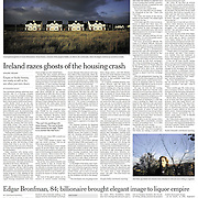 """Tearsheet of """"Ireland razes ghosts of the housing crash"""" published in the International New York Times"""
