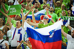 Fans of SLovenia celebrate after the basketball match between National Teams of Slovenia and Dominican Republic in Eight-finals of FIBA Basketball World Cup Spain 2014, on September 6, 2014 in Palau Sant Jordi, Barcelona, Spain. Photo by Tom Luksys  / Sportida.com <br /> ONLY FOR Slovenia, France