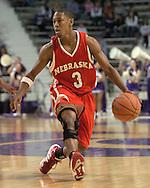 Nebraska guard Charles Richardson Jr. brings the ball up court against Kansas State.  The Huskers defeated K-State 57-42 at Bramlage Coliseum in Manhattan, Kansas, January 11, 2006.
