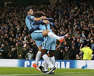 Nolito of Manchester City celebrates with scorer Kelechi Iheanacho of Manchester City during the Champions League Group C match at the Etihad Stadium, Manchester. Picture date: December 6th, 2016. Pic Simon Bellis/Sportimage