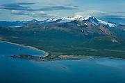 Aerial view of coastline of Katmai Peninsula and Mount Katmai, Katmai Peninsula, Alaska