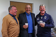 AFC Wimbledon manager Wally Downes, AFC Wimbledon first team coach Glyn Hodges and Former Wimbledon player Vinnie Jones laughing during the The FA Cup match between AFC Wimbledon and West Ham United at the Cherry Red Records Stadium, Kingston, England on 26 January 2019.