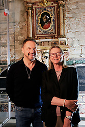 Florence, Restoration of the Capponi Chapel in Santa Felicita with paintings of Pontormo thanks to the Donation of Friends of Florence In the picture the Restorer Daniele Rossi with Countess Simonetta Brandolini D'Adda president of Friends of Florence 30/05/2017 Florence Italy