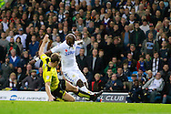 Burton Albion's Ben Turner (6) fouls Leeds United's Souleymane Doukara (11) in the box to concede a penalty to Leeds United during the EFL Sky Bet Championship match between Leeds United and Burton Albion at Elland Road, Leeds, England on 29 October 2016. Photo by Richard Holmes.