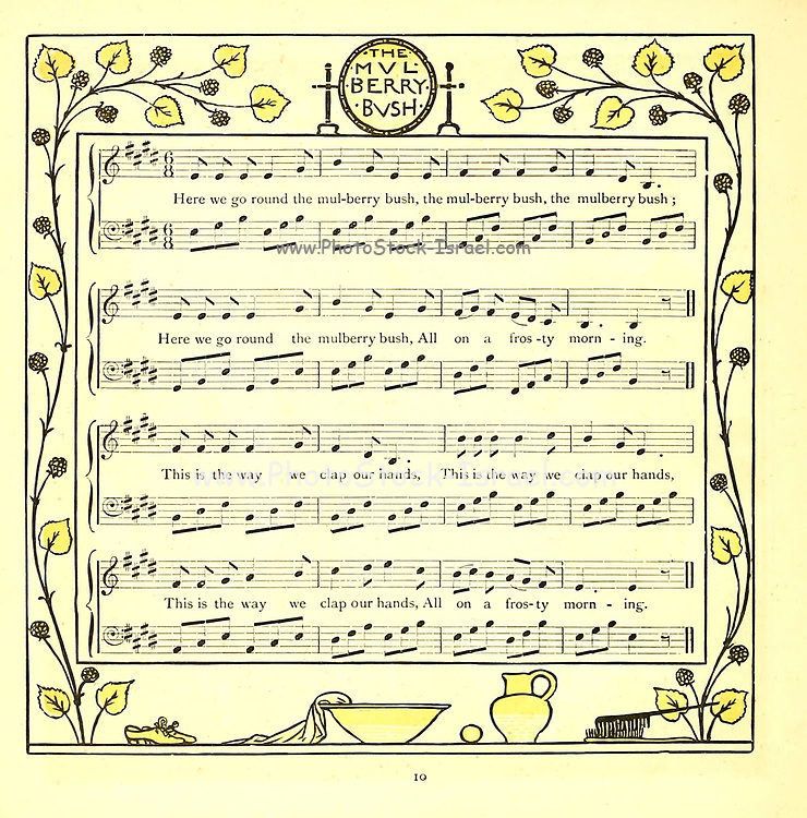 The Mulberry Bush From the Book '  The baby's opera : a book of old rhymes, with new dresses by Walter Crane, and Edmund Evans Publishes in London and New York by F. Warne and co. in 1900