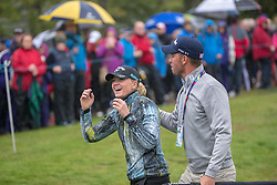 Sweden's Linda Wessberg celebrates their win in their semi final match with Great Britain during day eleven of the 2018 European Championships at Gleneagles PGA Centenary Course.