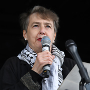 Kate Hudson of Stop the War Coalition rally for Palestine Stop Arming Israel - Stop Bombing Gaza London, Hype Parl on 22nd May 2021.