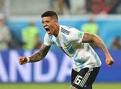 SAINT PETERSBURG, June 26, 2018  Marcos Rojo of Argentina celebrates scoring during the 2018 FIFA World Cup Group D match between Nigeria and Argentina in Saint Petersburg, Russia, June 26, 2018. Argentina won 2-1 and advanced to the round of 16. (Credit Image: © Yang Lei/Xinhua via ZUMA Wire)