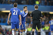Cesc Fabregas of Chelsea complains to Referee Craig Pawson for not awarding Chelsea a corner before half time. Barclays Premier league match, Chelsea v Norwich city at Stamford Bridge in London on Saturday 21st November 2015.<br /> pic by John Patrick Fletcher, Andrew Orchard sports photography.