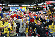 Arsenal fans celebrate the win during the The FA Cup match between Arsenal and Aston Villa at Wembley Stadium, London, England on 30 May 2015. Photo by Phil Duncan.