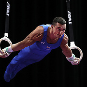 Brandon Wynn, Columbus, Ohio,in action on the <br /> Still rings during the Senior Men Competition at The 2013 P&G Gymnastics Championships, USA Gymnastics' National Championships at the XL, Centre, Hartford, Connecticut, USA. 16th August 2013. Photo Tim Clayton