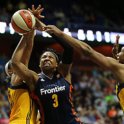 UNCASVILLE, CONNECTICUT- JUNE 5:  Kelsey Bone #3 of the Connecticut Sun is blocked by Marissa Coleman #25 of the Indiana Fever and Tamika Catchings #24 of the Indiana Fever during the Indiana Fever Vs Connecticut Sun, WNBA regular season game at Mohegan Sun Arena on June 3, 2016 in Uncasville, Connecticut. (Photo by Tim Clayton/Corbis via Getty Images)