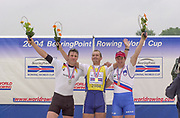 Poznan, POLAND.   2004 FISA World Cup, Malta Lake Course.  <br /> <br /> Men's Single scull Medal  left to right GER M1X Marcel Hacker silver,  Gold EST 1X Jueri Jaanson  and SLO M1X Iztok Cop..<br /> <br /> [Mandatory Credit:Peter SPURRIER/Intersport Images]