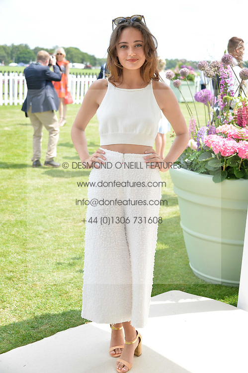 Ella Prunell at Cartier Queen's Cup Polo, Guard's Polo Club, Berkshire, England. 18 June 2017.<br /> Photo by Dominic O'Neill/SilverHub 0203 174 1069 sales@silverhubmedia.com