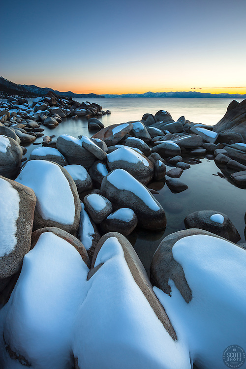 """""""Tahoe Boulders at Sunset 6"""" - Photograph of snow covered boulders at sunset, shot near Hidden Beach, Lake Tahoe."""