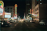 CS01113-09. SW Broadway from Taylor looking North. On left: Fox Theater (now site of Fox tower), Orpheum (now site of Nordstroms) on right is Jackson Tower. January 1961