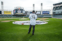 Jose Abreu  checks out the field after hi press conference at US Cellular Field in Chicago