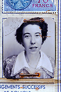 a portrait image of woman on a 1952 identity document France
