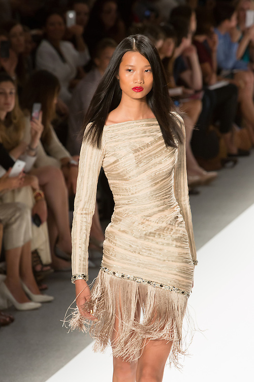 Long-sleeved minidress with a fringe skirt. By Carlos Miele at the Spring 2013 Mercedes-Benz Fashion Week in New York.
