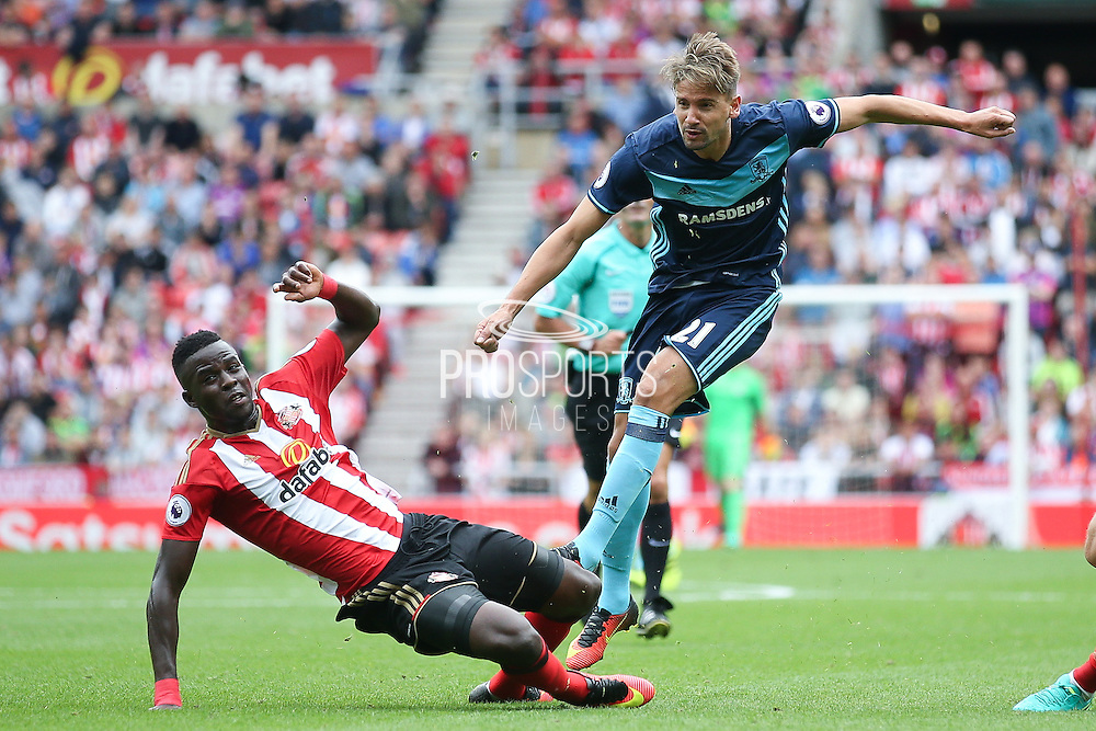 Middlesbrough midfielder Gaston Ramirez (21)  with a shot during the Premier League match between Sunderland and Middlesbrough at the Stadium Of Light, Sunderland, England on 21 August 2016. Photo by Simon Davies.