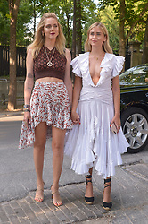 Chiara Ferragni and Valentina Ferragni arriving at the Giambattista Valli show during Haute Couture Paris Fashion Week Fall/Winter 2018/19 in Paris, France on July 02, 2018. Photo by Julien Reynaud/APS-Medias/ABACAPRESS.COM