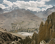 A village below Baba Tangi peak, in the Pamir mountains. The traditional life of the Wakhi people, in the Wakhan corridor, amongst the Pamir mountains.