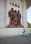 Sunday in North Korea<br /> <br /> What can you do on sunday when you live in a dictatorship? You can hardly fly outside of the for a week end, or take your car to the beach...<br /> So this is the time to enjoy simple activities for the north koreans and the best opportunity for foreigners to meet them as everyone is more relax, including your minders!<br /> <br /> Photo shows:   Roller skating is very popular for few years, since China has invaded the country with products. The huge Kim Il Sung square in Pyongyang is perfect to learn.<br /> ©Eric Lafforgue/Exclusivepix Media