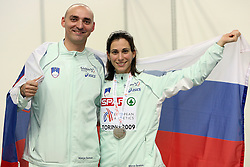 Matija Sestak and her wife Marija Sestak of Slovenia placed second at the final of Women Triple  jump at the 3rd day of  European Athletics Indoor Championships Torino 2009 (6th - 8th March), at Oval Lingotto Stadium,  Torino, Italy, on March 8, 2009. (Photo by Vid Ponikvar / Sportida)