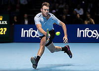 Tennis - 2017 Nitto ATP Finals at The O2 - Day Five<br /> <br /> Group Boris Becker Singles: Alexander Zverev (Germany) Vs Jack Sock (United States)<br /> <br /> Jack Sock (United States) dashes across to reach the ball at the O2 Arena<br /> <br /> COLORSPORT/DANIEL BEARHAM