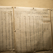 Charts track attacks by German V2 flying bombs on London at the Churchill War Rooms in London. The museum, one of five branches of the Imerial War Museums, preserves the World War II underground command bunker used by British Prime Minister Winston Churchill. Its cramped quarters were constructed from a converting a storage basement in the Treasury Building in Whitehall, London. Being underground, and under an unusually sturdy building, the Cabinet War Rooms were afforded some protection from the bombs falling above during the Blitz.