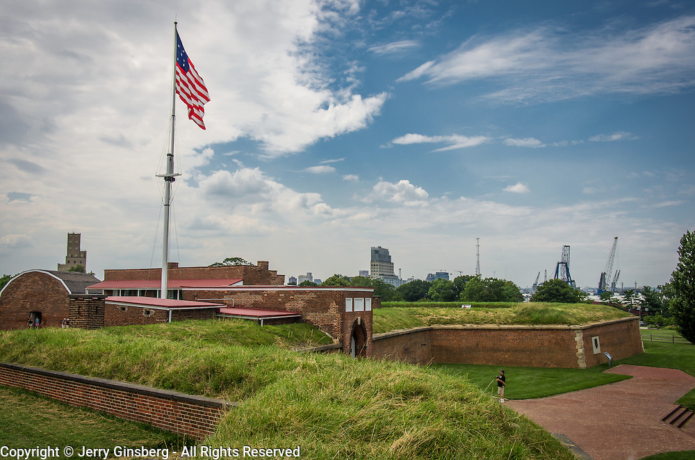 USA, MD, Maryland, Baltimore, Ft. McHenry, McHenry, Historic Fort McHenry, birthplace of the Star Spangled Banner, national anthem of the United States.