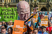 A rally and march organised by NAPO against the governments proposed cuts to legal aid and the justice system in general.  They target Chris Grayling, the Justice Minister, by marching from Parliament to the Ministry of Justice to deliver a birthday card and cake for his birthday. Westminster, London, UK, 01 April 2014.  Guy Bell, 07771 786236, guy@gbphotos.com