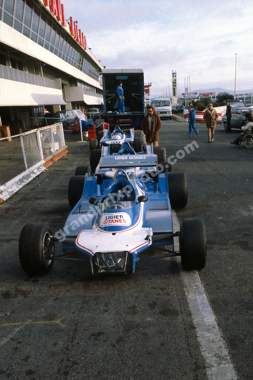 The Ligier-Ford in the pits before test at Paul Ricard before testing in January 1980. Photo: Grand Prix Photo