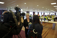 Sue Bruce chief exclusive of Edinburgh Council at The Highland Centre doing a interview with TV.<br /> Potocall as postal votes processed. Edinburgh council workers begin to verify the first votes submitted by post at Royal Highland Centre, Ingliston<br /> Pako Mera/Universal News And Sport (Europe) 12/09/2014