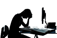 one caucasian young teenager silhouette boy or girl studying with computer computing laptop tired sad despair in studio cut out isolated on white background
