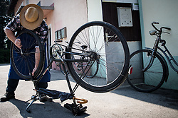 A cyclist repairing the bike at Kolesarski Klub Zalec during 3rd Stage of 26th Tour of Slovenia 2019 cycling race between Zalec and Idrija (169,8 km), on June 21, 2019 in Slovenia. Photo by Matic Klansek Velej / Sportida