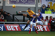 Joss Labadie of Newport county (l) in action. EFL Skybet football league two match, Newport county v Exeter City  at Rodney Parade in Newport, South Wales on New Years Day, Monday 1st January 2018.<br /> pic by Andrew Orchard,  Andrew Orchard sports photography.