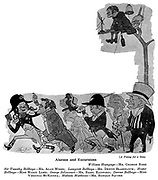 At The Play ; Haymarket<br />  Theatre ; A Penny for a Song ; George Rose , Alan Webb , Denys Blakelock , Marie Lohr , Basil Radford , Virginia McKenna and Ronald Squire .