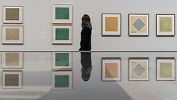 October 9, 2018 - London, UK - LONDON, UK. A visitor walks by screen prints and studies by Anni Albers.  Preview of the UK's first exhibition of works by German artist Anni Albers at Tate Modern who used the ancient art of hand-weaving to produce works of modern art.  Over 350 of her artworks from major collections from Europe and the US are on show 11 October to 27 January 2019. (Credit Image: © Stephen Chung/London News Pictures via ZUMA Wire)