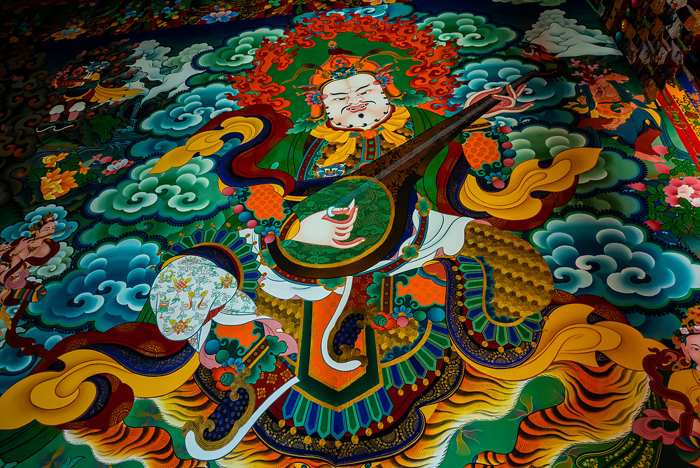 Buddhist murals, Songzanlin (Ganden Sumtsenling) Monastery, Shangri La, Yunnan Province, China. It is the largest Tibetan Buddhist monastery in Yunnan Province.