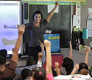 Jessica Gonzalez teaches a third graders about angles during a math lesson at Middletown's William A. Carter Elementary School on Tuesday, May 7, 2013.