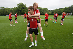 CARDIFF, WALES - Saturday, June 4, 2016: Wales' Jonathan Williams and Ben Davies during a training session at the Vale Resort Hotel ahead of the International Friendly match against Sweden. (Pic by David Rawcliffe/Propaganda)