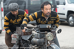 Shinya Kimura and Yoshimasa Nimi at the Twisted Oz Motorcycle Museum in Augusta, KS with their Team 80 1915 Indian during the Motorcycle Cannonball Race of the Century. Stage-7 from Springfield, MO to Wichita, KS. USA. Friday September 16, 2016. Photography ©2016 Michael Lichter.