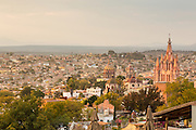 Sunset over the Paroquia de San Miguel Arcangel church and Spanish colonial style historic center of San Miguel de Allende, Mexico.