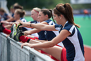 Quanita Bobbs of South African stretches after their match against Argentina in the Investec Hockey World League Semi Final 2013, the Quintin Hogg Memorial Sports Ground, University of Westminster, London,