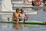 Shunyi, CHINA. Great Britain's,  Saturdays  Men's Kayak single [K1] 500m, final, AUS Ken WALLACE, is congratulated by [right] GBR K1 Tim BRABANTS.  at the 2008 Olympic Canoe/Flatwater Racing, Shunyi Rowing-Canoeing Course. Saturday - 23/08/2008,  [Mandatory Credit: Peter SPURRIER, Intersport Images]