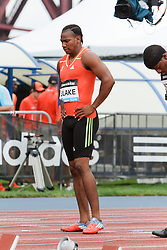 Samsung Diamond League adidas Grand Prix track & field; men's 100 meters, Yohan Blake, JAM, thoughtful before getting into starting blocks,