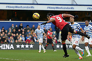 Radamel Falcao of Manchester United has a diving header at goal from close range but its saved by QPR keeper Rob Green. Barclays Premier league match, Queens Park Rangers v Manchester Utd at Loftus Road in London on Saturday 17th Jan 2015. pic by John Patrick Fletcher, Andrew Orchard sports photography.